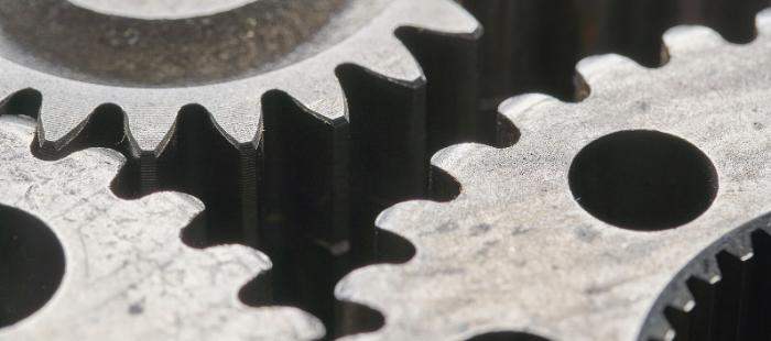 close up of metal cogs