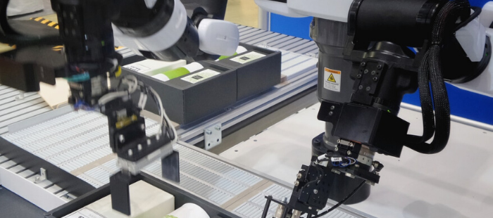image of automated machines in a factory