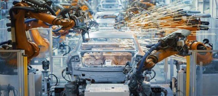robots creating a car